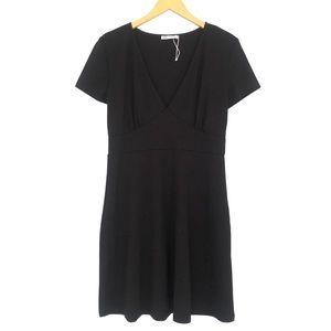 Zara Black Knitted V Neck Sort Sleeve Dress